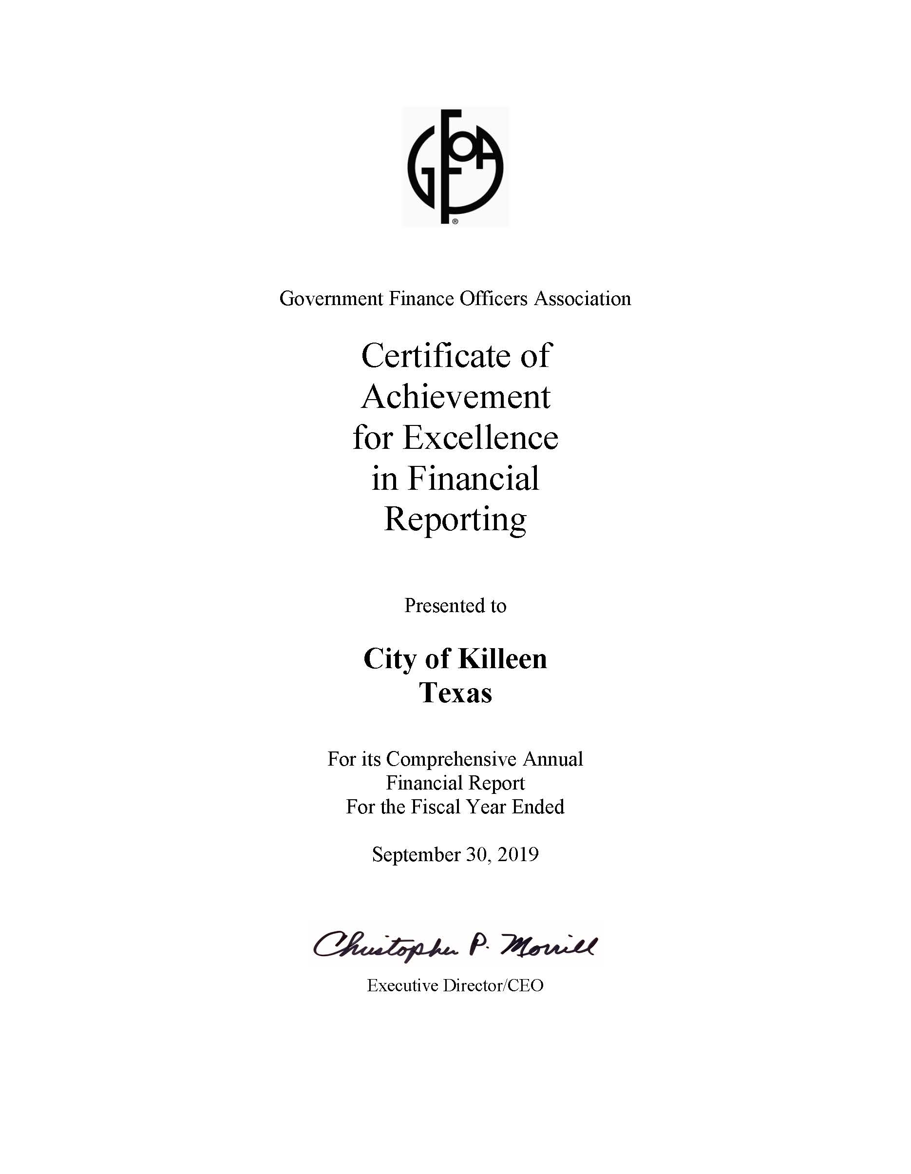 Certificate of Achievement for Excellence in Financial Reporting (PDF)