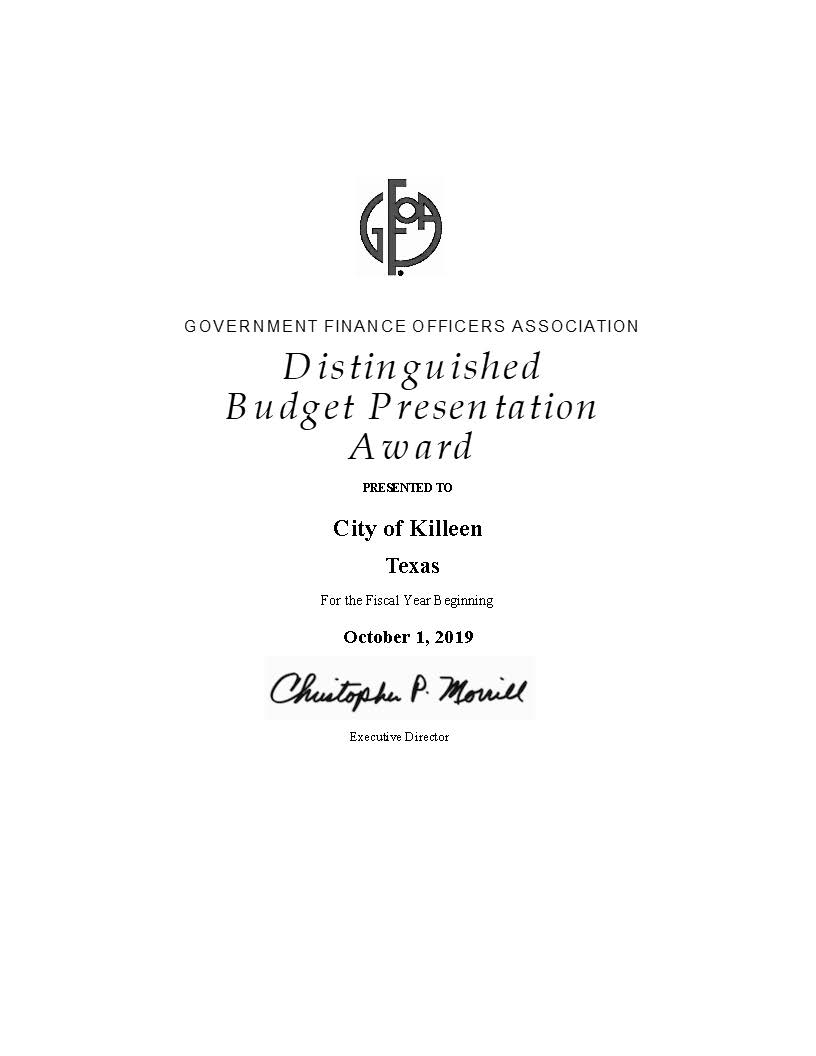 Government Finance Officers Associations Distinguished Budget Award 2016 (PDF)